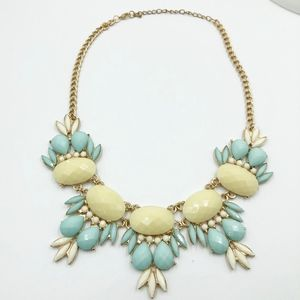 Vintage Necklace Aqua Yellow Statement